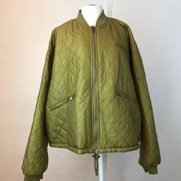 Free People Jackets Coats Green Easy Quilted Bomber Jacket